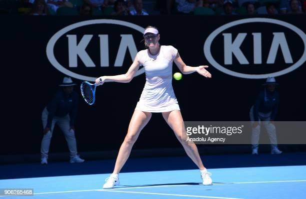 Maria Sharapova of Russia in action against Anastasija Sevastova of Latvia during Women's single match of 2018 Australian Open at Melbourne Park...
