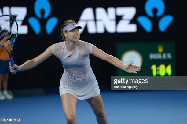 Maria Sharapova of Russia in action against Angelique Kerber of Germany during women's singles third round match within the sixth day of 2018...