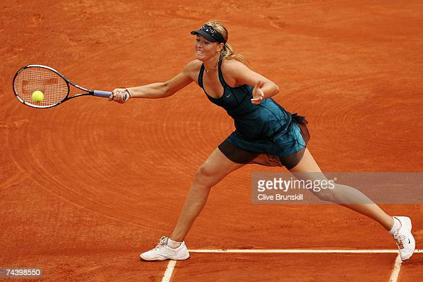 Maria Sharapova of Russia in action against Anna Chakvetadze of Russia during the Women's Singles Quarter Final match on day ten of the French Open...
