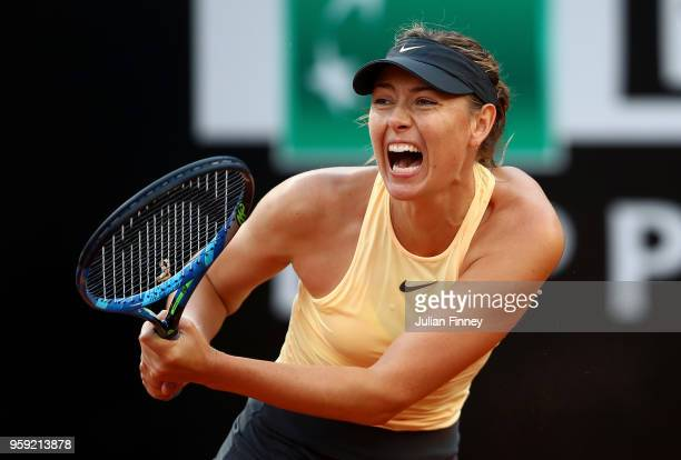 Maria Sharapova of Russia in action against Dominika Cibulkova of Slovakia during day four of the Internazionali BNL d'Italia 2018 tennis at Foro...