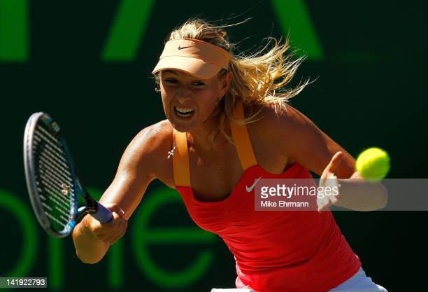 Maria Sharapova of Russia in action against Ekaterina Makarova of Russia during Day 8 of the Sony Ericsson Open at Crandon Park Tennis Center on...