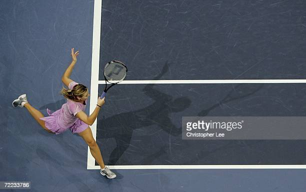 Maria Sharapova of Russia in action against Katarina Srebotnik of Slovenia during the Semi Finals of the WTA Zurich Open at the Hallenstadion on...