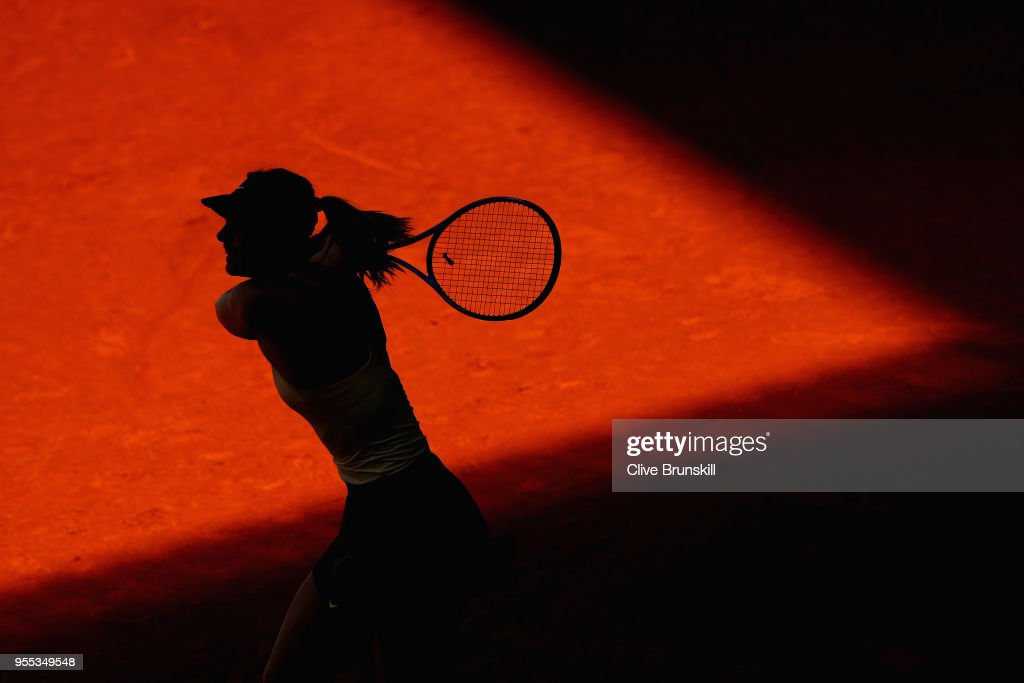Maria Sharapova of Russia in action against Mihaela Buzarnescu of Romania in their first round match during day two of the Mutua Madrid Open tennis tournament at the Caja Magica on May 6, 2018 in Madrid, Spain.