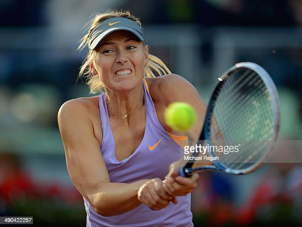 Maria Sharapova of Russia in action against Monica Puig of Puerto Rico during day 4 of the Internazionali BNL d'Italia 2014 on May 14 2014 in Rome...