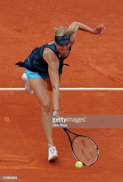 Maria Sharapova of Russia in action against Patty Schnyder of Switzerland during the Women's Singles 4th round match on day eight of the French Open...