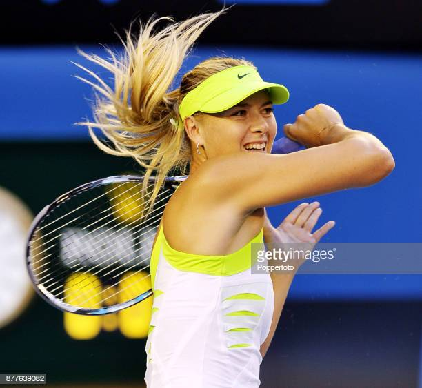 Maria Sharapova of Russia in action against Sabine Lisicki of Germany during a Ladies Singles 4th round match on day eight of the 2012 Australian...