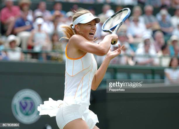 Maria Sharapova of Russia in action against Sesil Karatancheva of Bulgaria during the Wimbledon Lawn Tennis Championship at the All England Lawn...