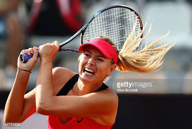 Maria Sharapova of Russia in action against Venus Williams of the USA in their quarter final match during day seven of the Internazionali BNL...
