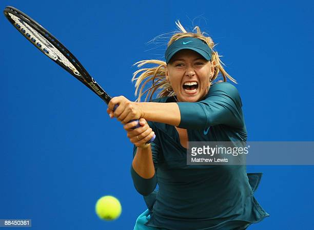 Maria Sharapova of Russia in action against Yanina Wickmayer of Belguim during day five of the AEGON Classic at the Edgbaston Priory Club on June 12...