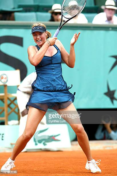 Maria Sharapova of Russia in action defeating Anna Chakvetadze of Russia 63 64 in the quarter final of the French Open at Roland Garros Paris France...