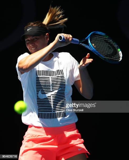 Maria Sharapova of Russia in action during a practice session ahead of the 2018 Australian Open at Melbourne Park on January 14 2018 in Melbourne...