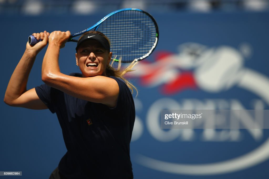Maria Sharapova of Russia in action during a practice session prior to the US Open Tennis Championships at USTA Billie Jean King National Tennis Center on August 27, 2017 in New York City.