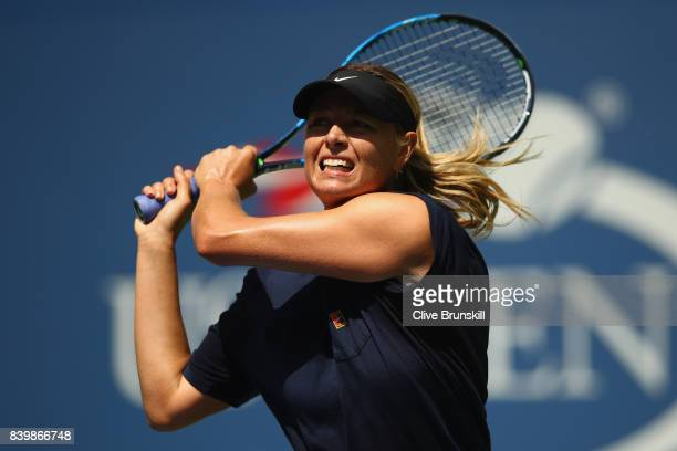 Maria Sharapova of Russia in action during a practice session prior to the US Open Tennis Championships at USTA Billie Jean King National Tennis...