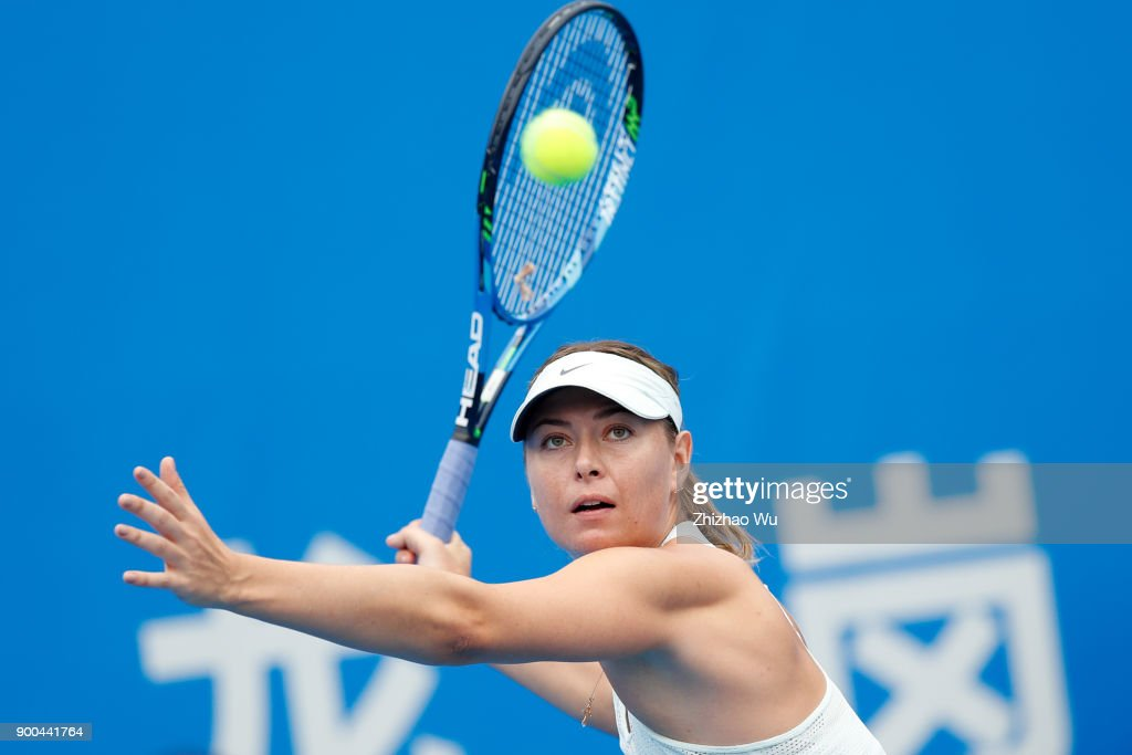 Maria Sharapova of Russia in action during the match against Mihaela Buzarnescu of Romania during Day 2 of 2018 WTA Shenzhen Open at Longgang International Tennis Center on January 1, 2018 in Shenzhen, China.