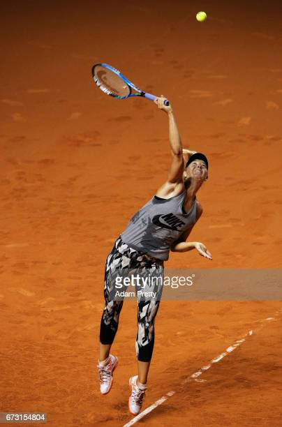 Maria Sharapova of Russia in action during training before her match against Roberta Vinci of Italy during the Porsche Tennis Grand Prix at Porsche...
