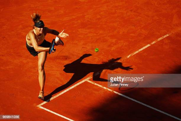 Maria Sharapova of Russia in action her Quater Final match against Jelena Ostapenko of Latvia during day six of The Internazionali BNL d'Italia 2018...