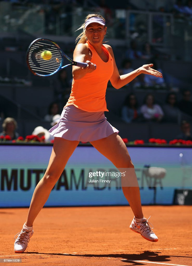 Maria Sharapova of Russia in action in her match against Mirjana Lucic-Baroni of Croatia during day two of the Mutua Madrid Open tennis at La Caja Magica on May 7, 2017 in Madrid, Spain.