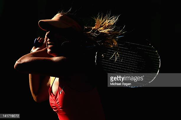 Maria Sharapova of Russia in action in her match against Shahar Peer of Israel during day 4 of the Sony Ericsson Open at Crandon Park Tennis Center...