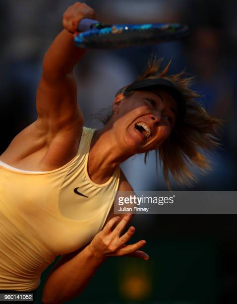 Maria Sharapova of Russia in action in her match against Simona Halep of Romania during day seven of the Internazionali BNL d'Italia 2018 tennis at...