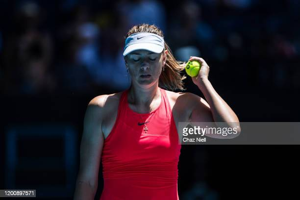 Maria Sharapova of Russia in between points in her first round match against Donna Vekic of Croatia on day two of the 2020 Australian Open at...