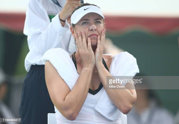 Maria Sharapova of Russia is seen between games in her Women's Singles match against Laura Siegemund of Germany during day one of the 2020 Kooyong...
