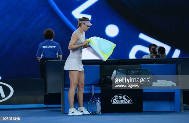 Maria Sharapova of Russia is seen during women's singles third round match against Angelique Kerber of Germany within the sixth day of 2018 Australia...