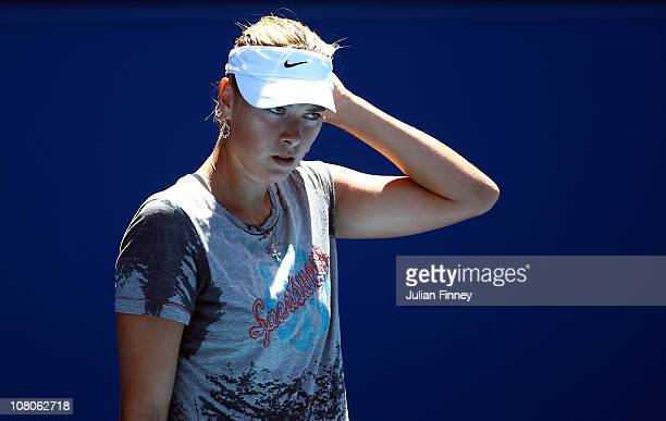 Maria Sharapova of Russia looks on during a practice session ahead of the 2011 Australian Open at Melbourne Park on January 16 2011 in Melbourne...