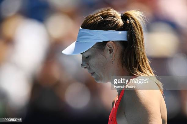 Maria Sharapova of Russia looks on during her Women's Singles first round match against Donna Vekic of Croatia on day two of the 2020 Australian Open...