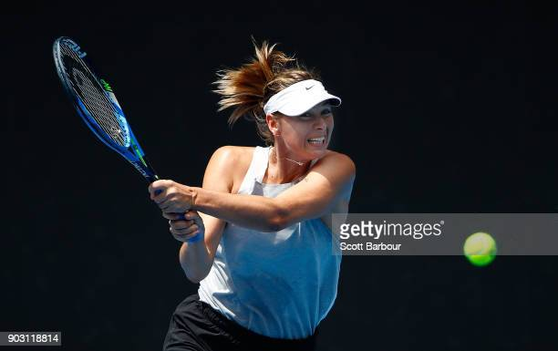 Maria Sharapova of Russia plays a backhand during a practice session ahead of the 2018 Australian Open at Melbourne Park on January 10 2018 in...