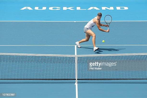 Maria Sharapova of Russia plays a backhand during a training session ahead of the ASB Classic at the ASB Tennis Centre on December 29 2010 in...