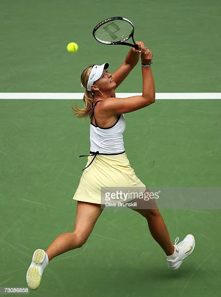Maria Sharapova of Russia plays a backhand during her quarterfinal match against Anna Chakvetadze of Russia on day ten of the Australian Open 2007 at...