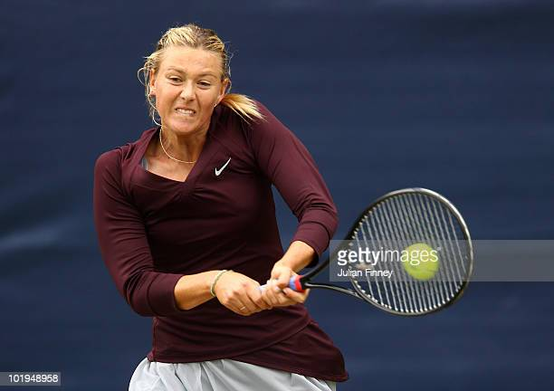 Maria Sharapova of Russia plays a backhand in her match against Bethanie MattekSands of USA during the AEGON Classic Tennis at the Edgbaston Priory...