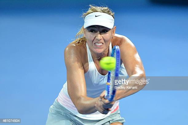 Maria Sharapova of Russia plays a backhand in her match against Yaroslava Shvedova of Kazakhstan during day three of the 2015 Brisbane International...