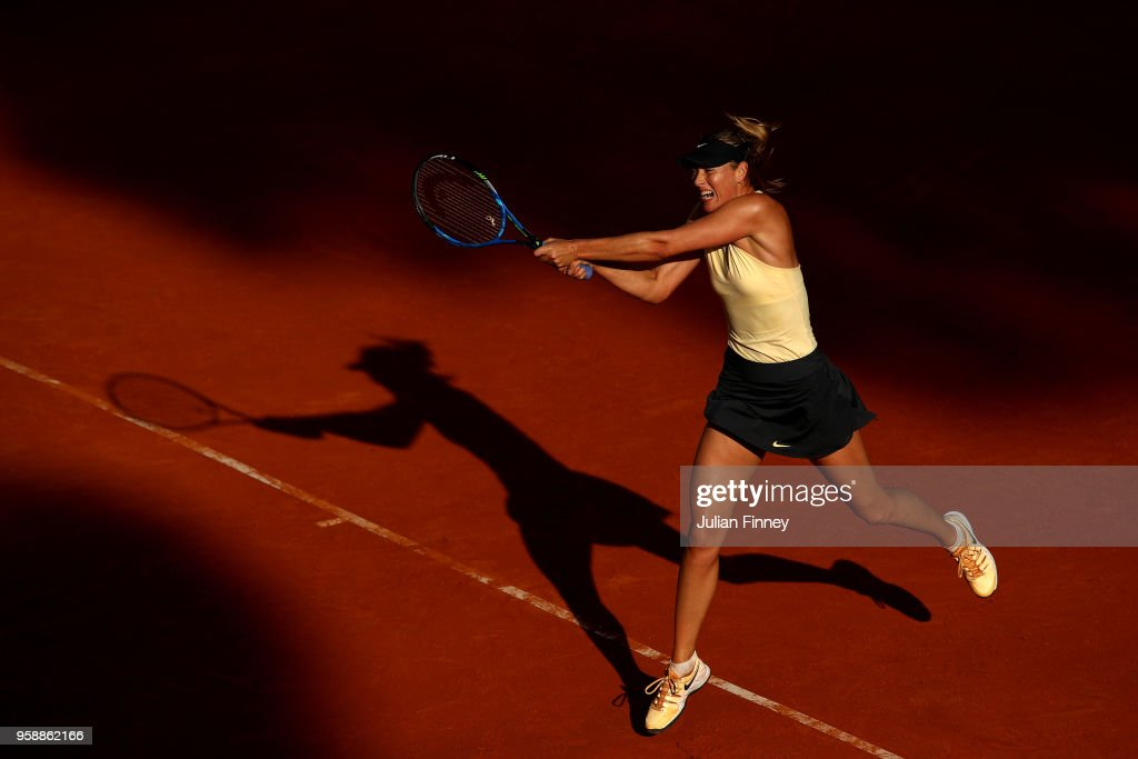 Maria Sharapova of Russia plays a backhand in her match against Ashleigh Barty of Australia during day three of the Internazionali BNL d'Italia 2018 tennis at Foro Italico on May 15, 2018 in Rome, Italy.