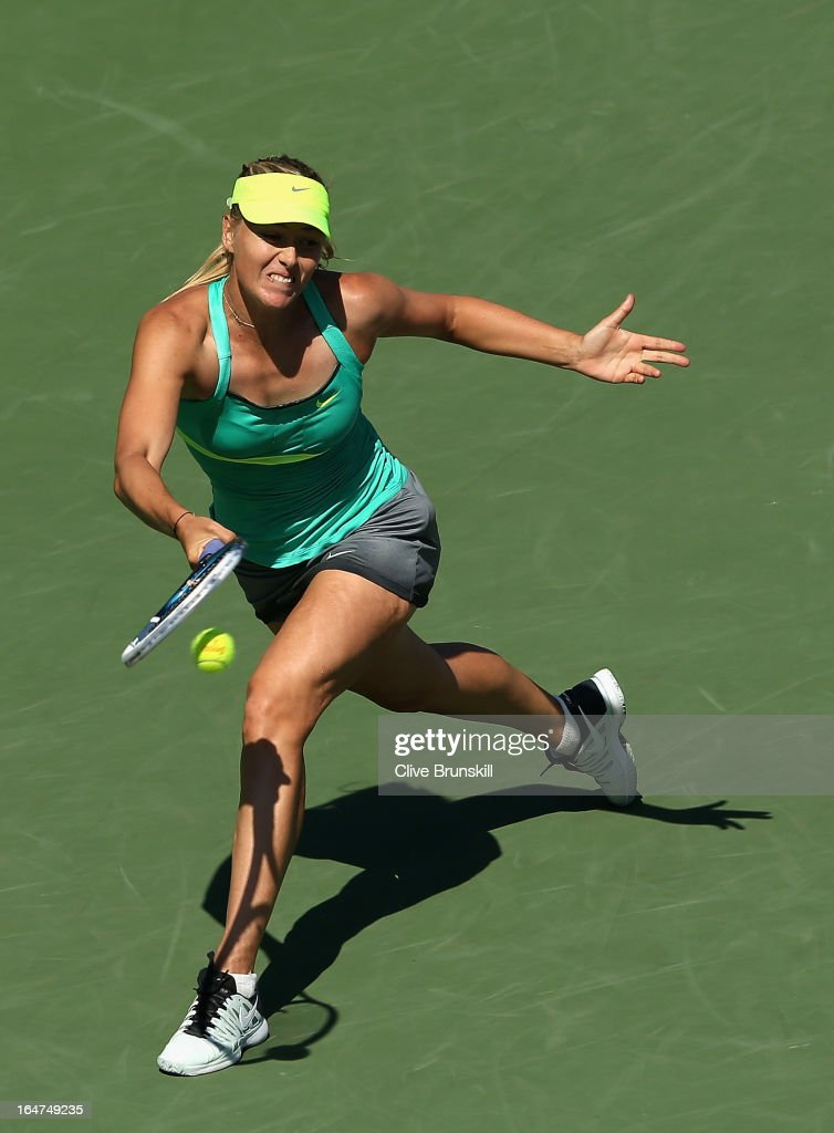 Maria Sharapova of Russia plays a forehand against Sara Errani of Italy during their quarter final match at the Sony Open at Crandon Park Tennis Center on March 27, 2013 in Key Biscayne, Florida.