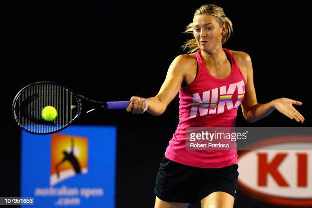 Maria Sharapova of Russia plays a forehand during a practice session ahead of the 2011 Australian Open at Melbourne Park on January 10 2011 in...