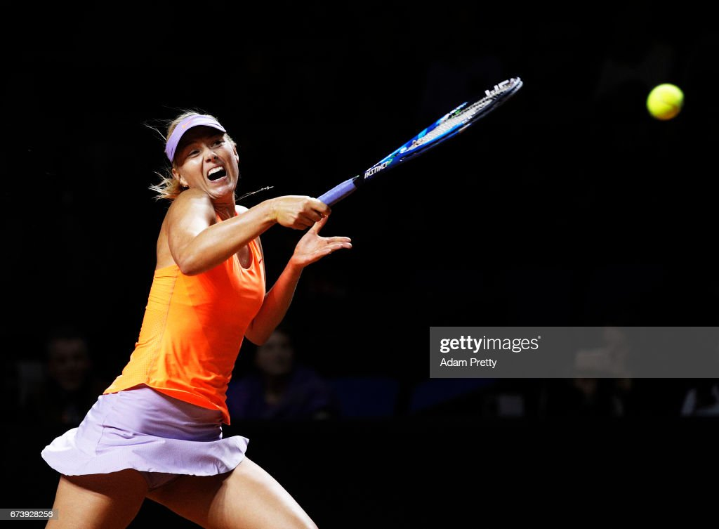 Maria Sharapova of Russia plays a forehand during her match against Erkaterina Makarova of Russia during the Porsche Tennis Grand Prix at Porsche Arena on April 27, 2017 in Stuttgart, Germany.