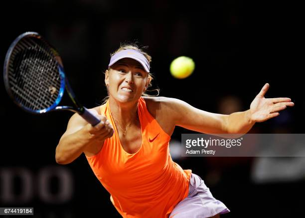 Maria Sharapova of Russia plays a forehand during her match against Anett Kontaveit of Estonia during the Porsche Tennis Grand Prix at Porsche Arena...