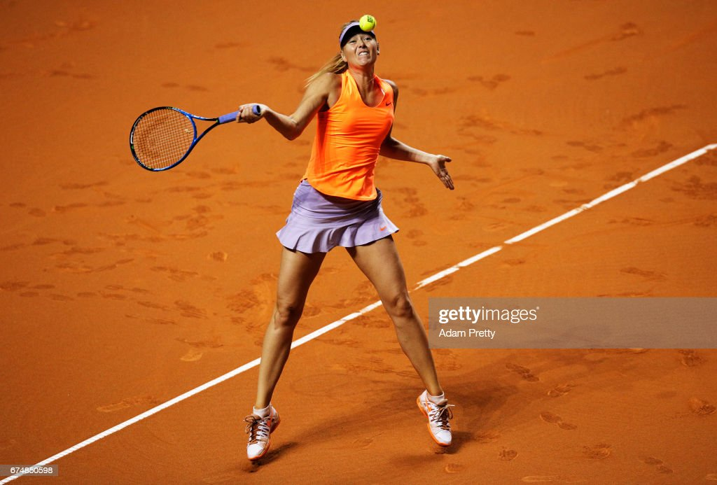 Maria Sharapova of Russia plays a forehand during her match against Kristina Mladenovic of France during the Porsche Tennis Grand Prix at Porsche Arena on April 29, 2017 in Stuttgart, Germany.