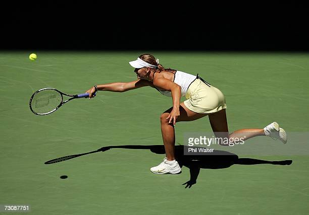 Maria Sharapova of Russia plays a forehand during her quarterfinal match against Anna Chakvetadze of Russia on day ten of the Australian Open 2007 at...