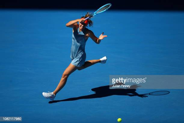 Maria Sharapova of Russia plays a forehand in her first round match against Harriet Dart of Great Britain during day one of the 2019 Australian Open...
