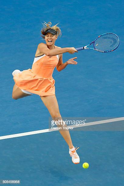 Maria Sharapova of Russia plays a forehand in her first round match against Nao Hibino of Japan during day one of the 2016 Australian Open at...