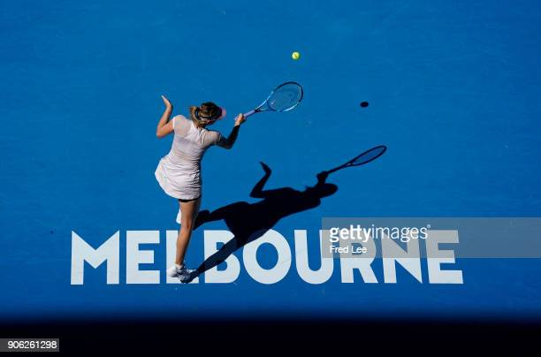 Maria Sharapova of Russia plays a forehand in her second round match against Anastasija Sevastova of Latvia on day four of the 2018 Australian Open...