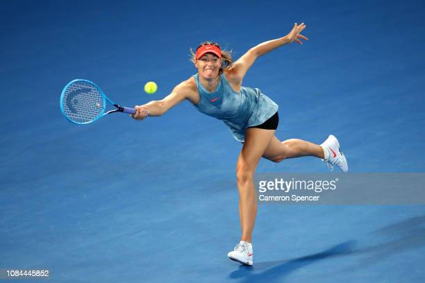 Maria Sharapova of Russia plays a forehand in her third round match against Caroline Wozniacki of Denmark during day five of the 2019 Australian Open...