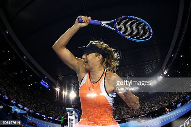 Maria Sharapova of Russia plays a forehand in her third round match against Lauren Davis of the United States during day five of the 2016 Australian...