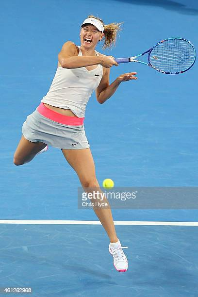 Maria Sharapova of Russia plays a forehand in the Women's final match against Ana Ivanovic of Serbia during day seven of the 2015 Brisbane...