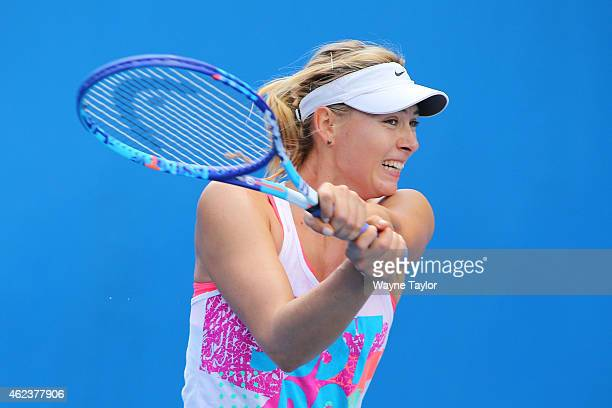 Maria Sharapova of Russia plays a shot in a practice session during day 10 of the 2015 Australian Open at Melbourne Park on January 28 2015 in...