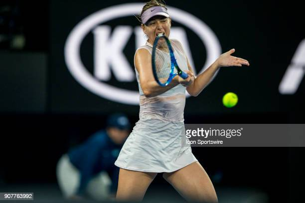 Maria Sharapova of Russia plays a shot in her third round match during the 2018 Australian Open on January 20 at Melbourne Park Tennis Centre in...