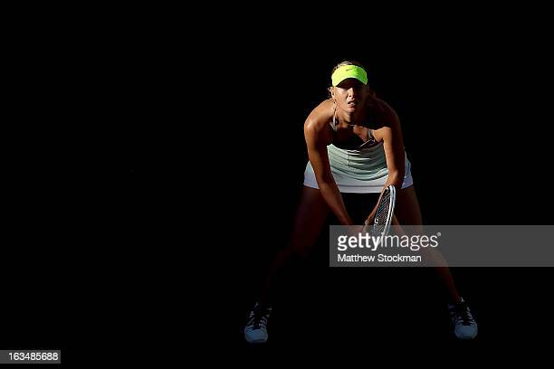 Maria Sharapova of Russia plays Carla Suarez Navarro of Spain during the BNP Paribas Open at the Indian Wells Tennis Garden on March 10 2013 in...