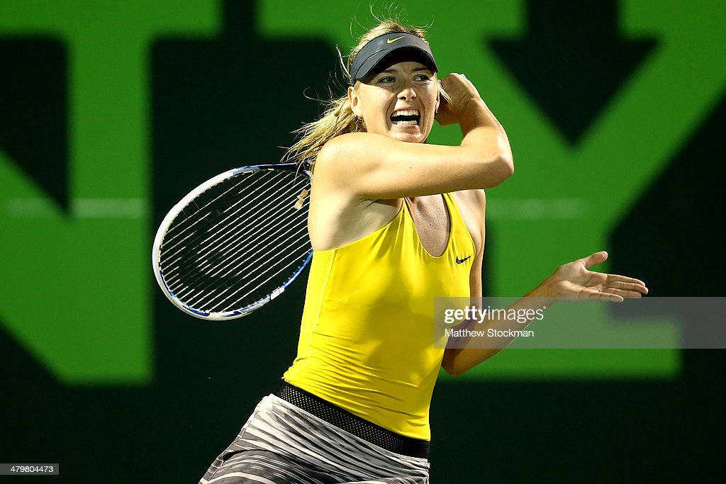 Maria Sharapova of Russia plays Kurumi Nara of Japan during the Sony Open at the Crandon Park Tennis Center on March 20, 2014 in Key Biscayne, Florida.